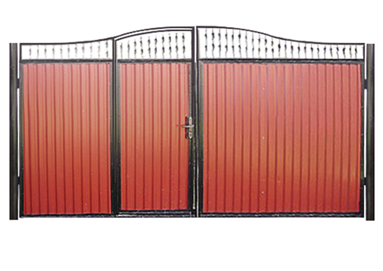 Ворота металлические с калиткой посередине