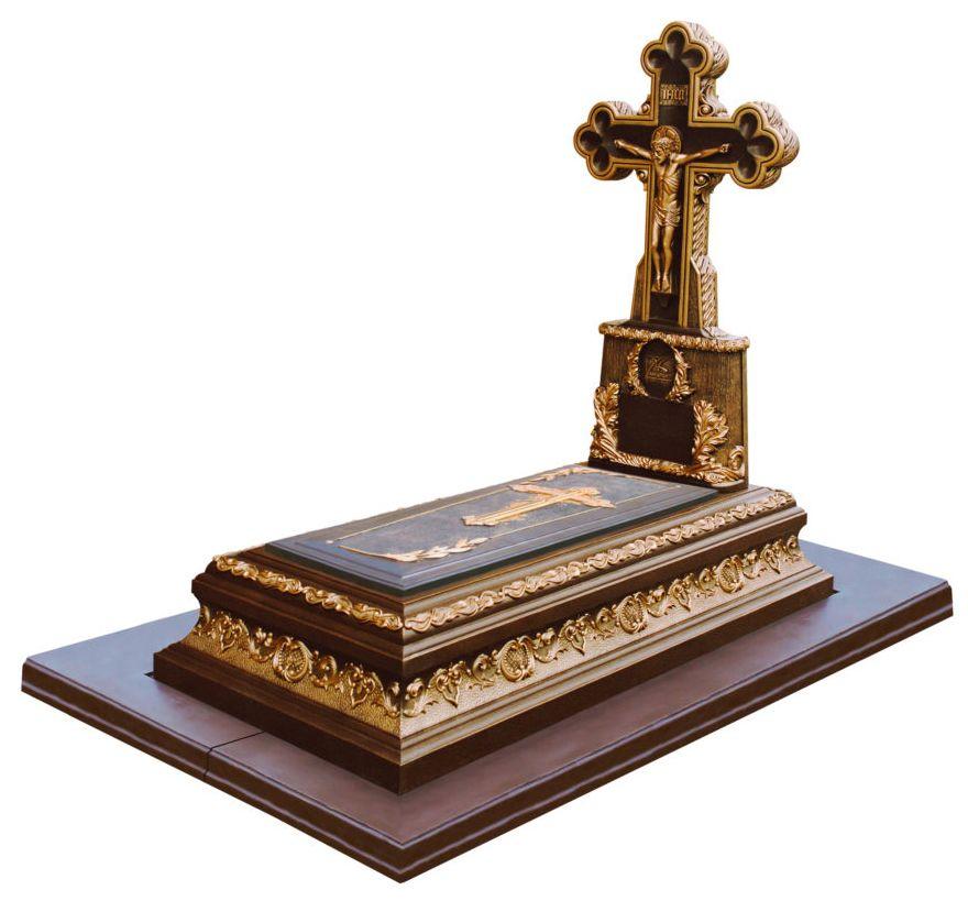 Памятник с крестом «Дион» коричневый